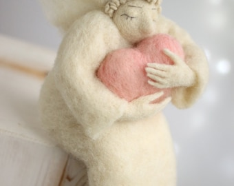 Needle Felted Angel - Dreamy Angel With A Pink Heart - Birthday Gift Idea - Cupid Angel - Guardian Angel - Blush Pink - Wool - Home Decor