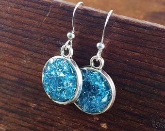Turquoise Glass Earrings, Druzy Look Earrings, Glitter and Sparkle Earrings, Kyleemae Designs Earrings, German Glitter Glass Earrings