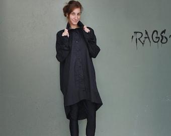 Loose Maxi Black Tunic / Asymmetrical Loose Black Tunic / Extravagant Blouse / Black Loose Tunic