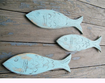 School of Fish Wooden Set of Fish Decor Rustic Wooden Fish Wall Art Beach House Decor Lake House Decor Nautical Decor
