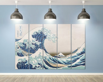 The Great Wave off Kanagawa Leather Print Reproduction/Multi panel/Artwork galleryfine/Leather Art/Wall Art/Wall Decor/Better than Canvas!