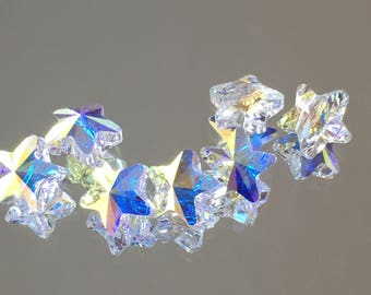 Swarovski Crystals - 8mm Star Bead - Crystal AB - SPECTACULAR! - Packages of 6 & 12 (#427)