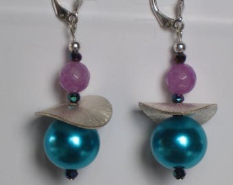 NEW Sterling Silver Lever-back Dangle Earrings for Purple Turquoise & Turquoise Blue Glass Pearl Necklace