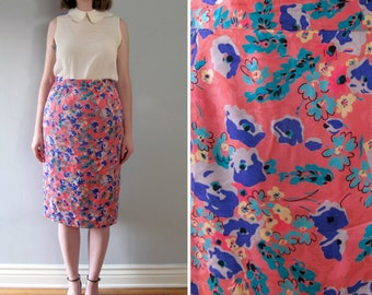 floral silk skirt - 90s vintage pink blue purple gray ditsy high waisted tight pencil wiggle fit knee midi length Flora Kung designer medium