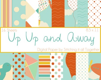 Up Up and Away Digital Paper Pack - 16 Digital Sheets
