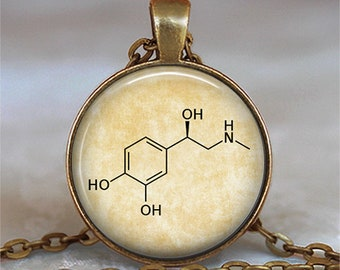 Adrenaline molecule necklace, adrenaline pendant chemistry jewelry chemistry teacher science gift key chain key ring key fob