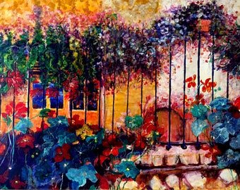 Oil painting The Yellow house with East India cherry-flowers-dim. 105 x 80 cm-Dutch contemporary art
