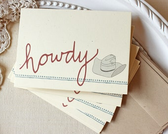 Cowboy Hat Note Cards Howdy