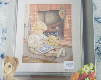 Permin  Counted Cross Stitch Boy with Bear Reading patterns