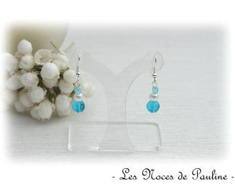 White and turquoise earrings on silver plated hooks dangling earrings
