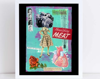 Nourishing Meat // Collage Art Print // Surreal Home Decor