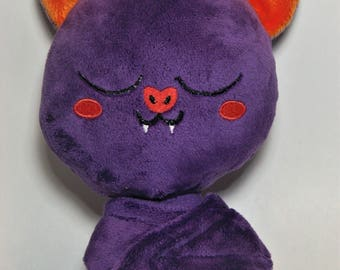 Sleepy Bat Plush - Purple & Orange - Chibi Sleeping Bat - Purple Bat Plush