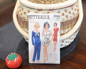 """Butterick 3532 - Jumpsuit Varying Lengths Sewing Pattern Size 18, Bust 38"""",   1960's , 10 Pieces"""