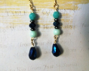 Blue and Aqua Drop Earrings, Blue Dangle Earrings, Blue Drop Earrings, Bridesmaid Earrings, Teacher's Gift, Gifts Under 10