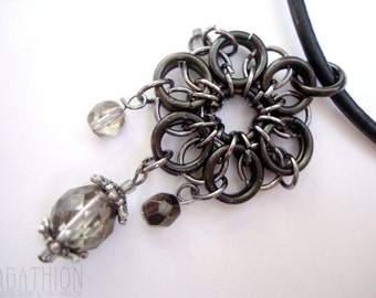 Chainmail Flower Jump Rings Pendant Necklace on black leather cord with fire polished Czech glass bead drops
