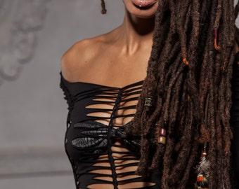 Long Sleeve Braided Top - Handmade, Tribal,  Festival, Party, Goa, Psytrance, Pixie, Stretch, Braided, Burning man, Boom  Festival
