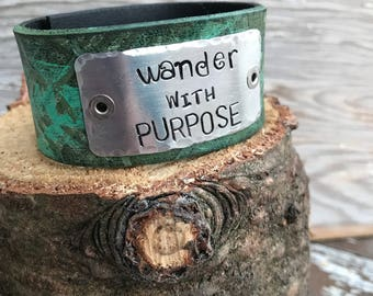 Stamped Leather Cuff-Word Cuff--Wander with Purpose