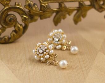 "Gold Wedding Stud Earrings   Ivory Pearl & Lace Wedding Drop Earrings   Vintage Inspired, Edwardian Wedding   ""Rosamonde"""
