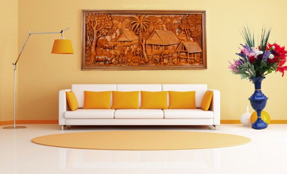bass-Relief Ramayana 3d Hand Carved Teak Wood wall Art from
