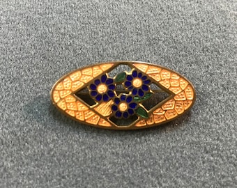 Vintage Guilloche Enamel Brooch with Blue Flowers. Free shipping.