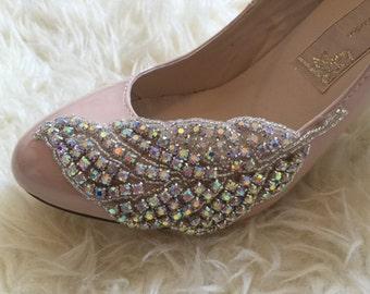 Rhinestone Feather Blush Mary Jane Heels