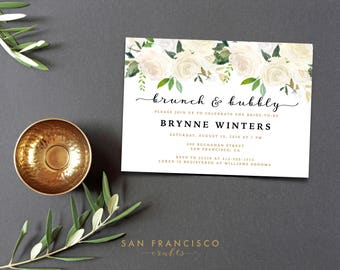 Brunch and Bubbly Invitation    Printable Bridal Shower Invite   Floral, White, Gold, Roses   Brynne Collection    Digital File