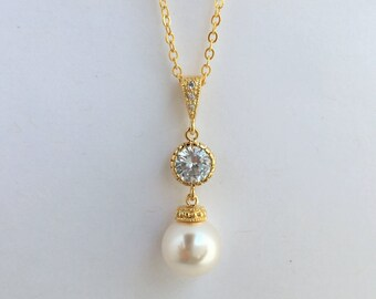 Gold Pearl and Crystal Bridal Necklace Wedding Cubic Zirconia and Pearl Pendant Gold Swarovski Pearl Jewelry