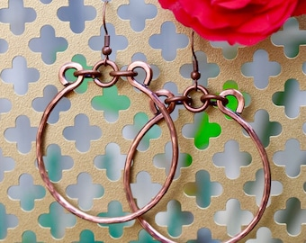 Hand-forged Copper Hoop Earrings | Boho Earrings | Artisan Earrings | Copper Anniversary | Medium