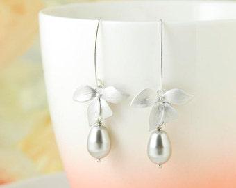 Silver Flower Dangle Earrings Gray Pearl Drop Earrings Long Flower Orchid Earrings Wedding Bridal Earrings Valentines Day Gift For Her