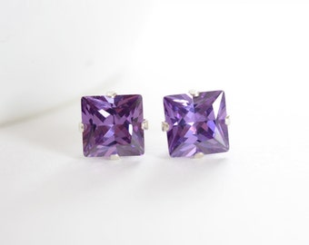 Amethyst Stud Earrings, February Birthstone Earrings, Under 20