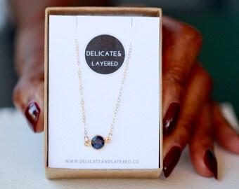 Sapphire Necklace, September Birthstone, Gold Sapphire Necklace, Birthstone Necklace, September Jewelry, Sapphire Pendant