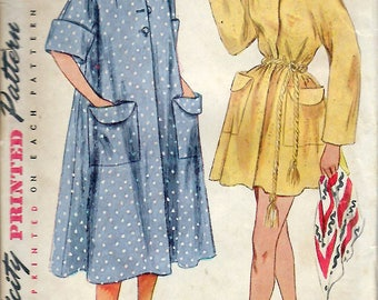 """Vintage 1951 Simplicity 3592 Robe in Two Lengths Sewing Pattern Size 14 Bust 32"""""""