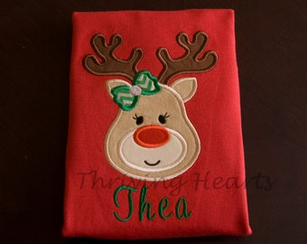 Custom Personalized Reindeer Shirt. Boy or girl reindeer. Christmas shirt. Holiday shirt. Personalized!