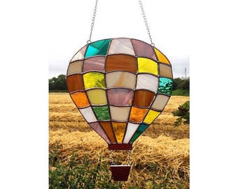 Handmade Stained Glass Hot Air Balloon Suncatcher Decoration Gift