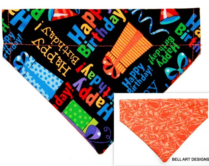 DOG BANDANA ~ Over the Collar ~ Reversible ~ Happy Birthday ~ Bell Art Designs ~ Small DCS578