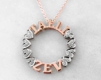 Silver or Gold-Plated Circle Name Necklace
