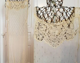 Vintage 1910 silk chemist slip crochet lace wedding