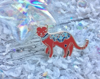 Dala horse inspired cat hard enamel pin - be present - Christmas - festive badge - cat lover - stocking filler - self care - Swedish