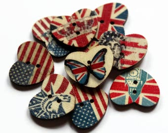 10 Flag Heart Buttons - Pack of 10 Buttons - Patriotic Buttons - Wooden Buttons - USA Flag - American Flag - British Flag - England - PW407