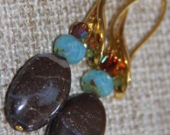 Unique Australian Boulder Opal earrings