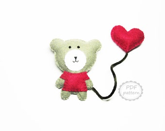 Felt bear heart brooch pattern double animal brooch - DIY pdf sewing tutorial instructions - handmade Valentine day gift - Instant Dawnload