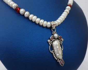 Freshwater Pearl Necklace - Unique Pendant with Freshwater Pearl and Garnet - Wedding Artistic Jewelry