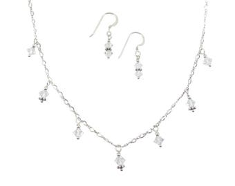 7 Drop Clear Swarovski Crystal Necklace & Earrings Set on Sterling Silver