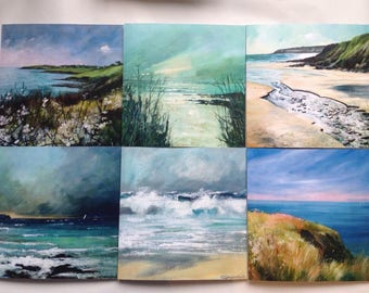 Fine art cards of The Roseland-  collection of 6 coastal cards, cornish art, sea and cliffs