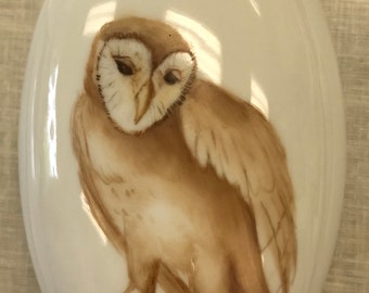 Handpainted owl on a oval decorative porcelain box