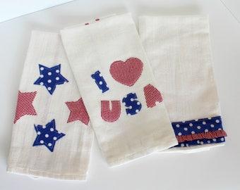 Set of Three USA Tea Towels