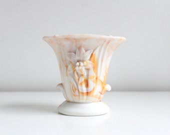 Vintage Slag Glass, Slag Glass Vase, Orange Slag Glass, Orange Slag Glass Vase, Akro Agate, Akro Agate Vase, Malachite Glass Lily Akro Agate