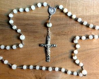 Old white glass  rosary