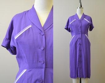 1940s Puritan Forever Young Purple Shirt Dress