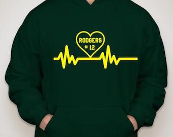 Aaron Rodgers Heartbeat Green Bay Packers Hooded Sweatshirt